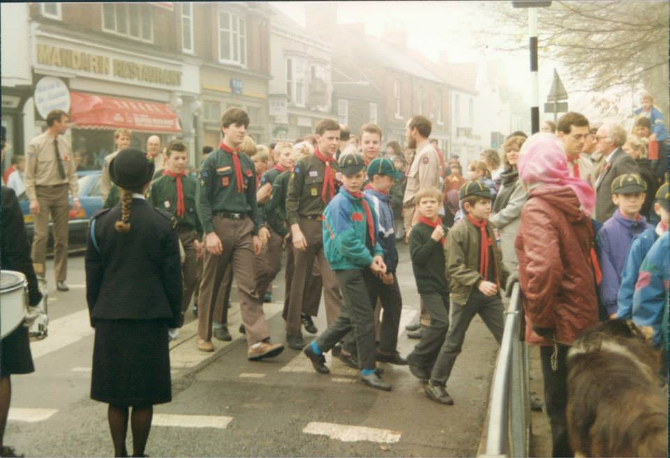Classic shot if Scouts and Cubs in Cottingham walking down Hallgate.