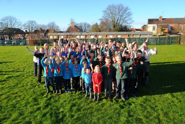 Cottingham Scout Group celebrating on Hallgate playing field